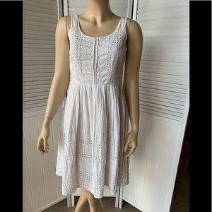 Odille Anthropologie white lace sleeveless dress